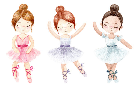 Watercolor ballerina. Hand painted illustration isolated on white background. Character ballerinas for children's design