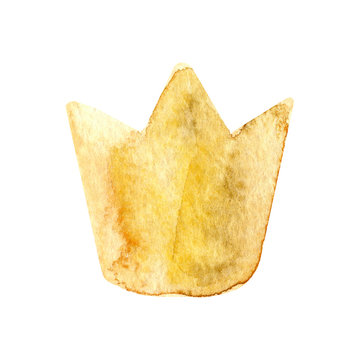 Watercolor crown. Hand painted illustration isolated on white background