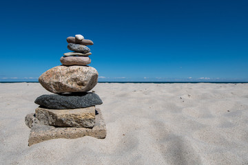 stack of stones on the beach - Germany, Schleswig Holstein, Baltic sea