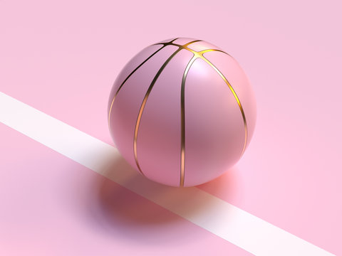 pink pastel gold abstract ball/basketball 3d rendering sport object concept
