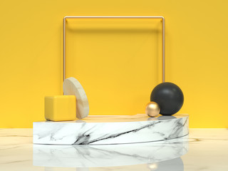 abstract scene 3d rendering yellow wall white marble floor group of geometric shape still life
