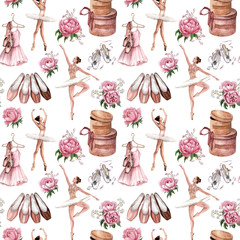 Watercolor seamless pattern of ballerinas, ballet shoes and beautiful pink peony flowers