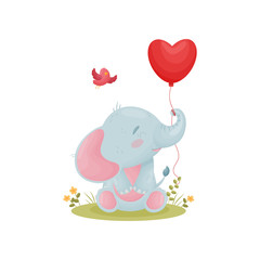 Cute baby elephant holds the trunk of a red balloon. Vector illustration on white background.