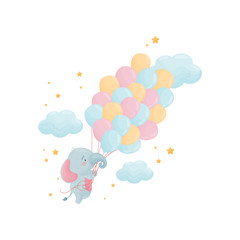 Cute little elephant is flying over a large bunch of balloons. Vector illustration on white background.