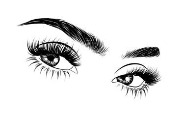 0c95f0a7a48 Abstract fashion illustration of the eye with creative makeup. Hand drawn  vector idea for business