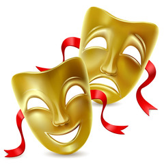 Theatrical masks. Isolated. Mesh. Clipping Masksolated. Mesh. Clipping Mask