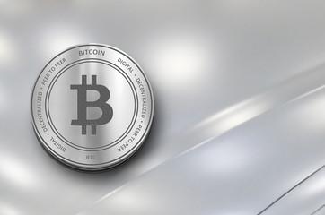 Bitcoin (BTC) digital crypto currency. Silver coin. Cyber money.
