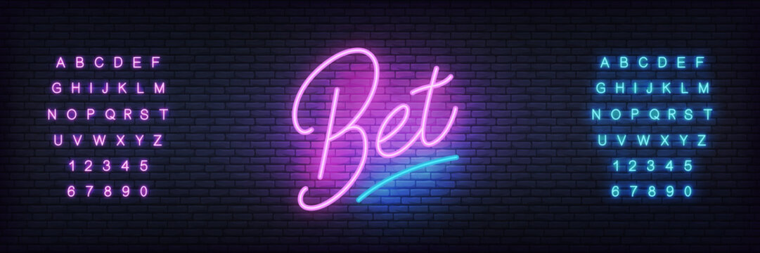 Bet neon template. Glowing lettering sign Bet for bookmaker gambling business.