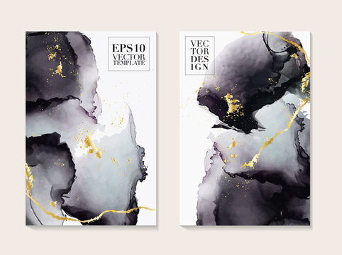 Liquid flow dark grey and gold vector design. Trendy Marble background, Alcohol ink  texture design in shades of black and golden texture vector temple.