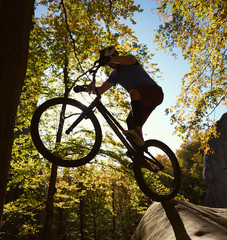 Silhouette professional cyclist balancing on back wheel on trial bike, rider making acrobatic stunt on the edge of big boulder in the forest on sunny day. Concept of extreme sport active lifestyle