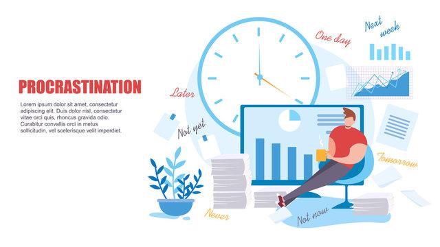 Cartoon Man Procrastinate at Work Low Productivity