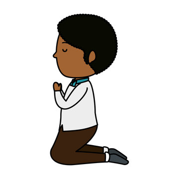 little black boy kneeling first communion