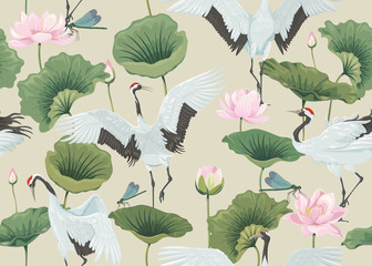 seamless pattern with japanese cranes and lotus flowers