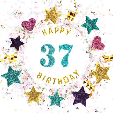 "Postcard square format with the inscription ""happy 37th birthday"", stars, glitter, serpentine.."