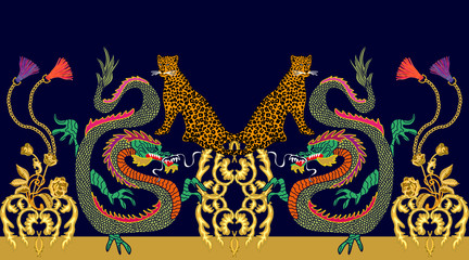 Seamless vector patten with wild fantasy creatures and golden scrolls.