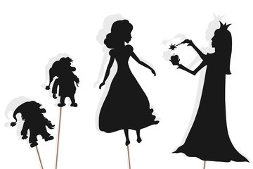 Shadow puppets of Snow White, dwarfs and Evil Queen Fotomurales