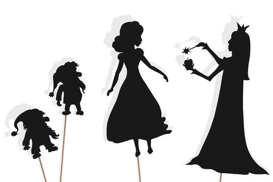 Shadow puppets of Snow White, dwarfs and Evil Queen
