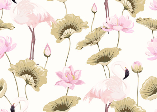 Seamless pattern with pink flamingos and lotuses