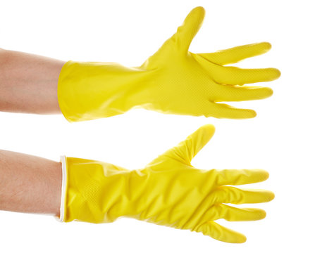 yellow glove for cleaning  isolated on white background. Detergents for home. Cleaning products.