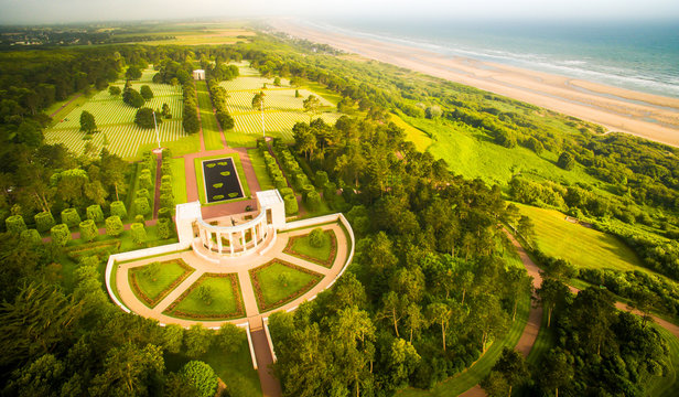 Peacefull coast and cemetery in Normandy, France