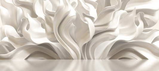 Luxury elegant background with silk drapery. 3d illustration, 3d rendering. Wall mural