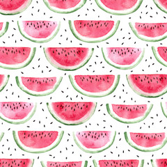 watermelon slice with seeds. watercolor seamless pattern