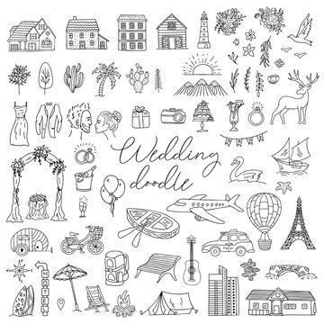 Doodle wedding icon set with decorative elements