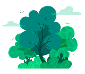 Magic and fairy forest in cartoon style  with texture. Vector tree isolate on white background. Forest or outdoor park