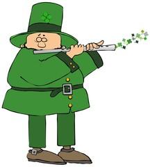 Irish leprechaun playing a flute