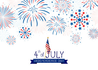 4th of july USA Independence day design of fireworks on white background vector illustration