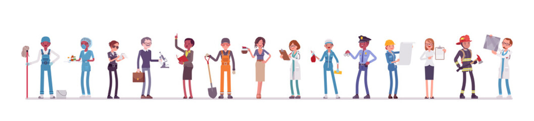 Different male, female professions and business. Working people, in occupation standing together, employee union, career. Vector flat style cartoon illustration isolated, white background, full length