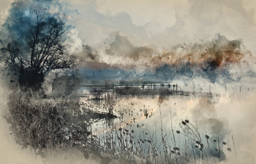 Watercolor painting of Landscape of lake in mist with sun glow at sunrise Fototapete