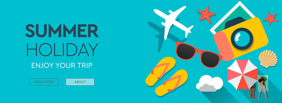 Summer Holiday, traveling template with beach summer accessories, web banner, flat design, vector illustration.
