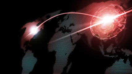 3D Rendering of world map with glowing dots and red curved line running across and target digital hud. Concept of trade war, cyber attack, threatening, boycott, global financial risk.