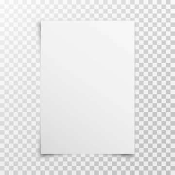 White realistic blank paper page with shadow isolated on transparent background. A4 size sheet paper. Mock up template for your design.