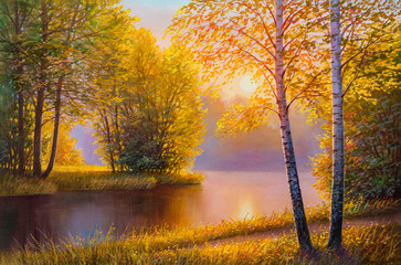 Landscape oil painting with river in summer forest.