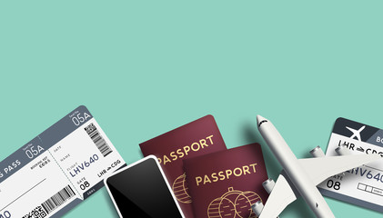 Travel Background Vector With Passports