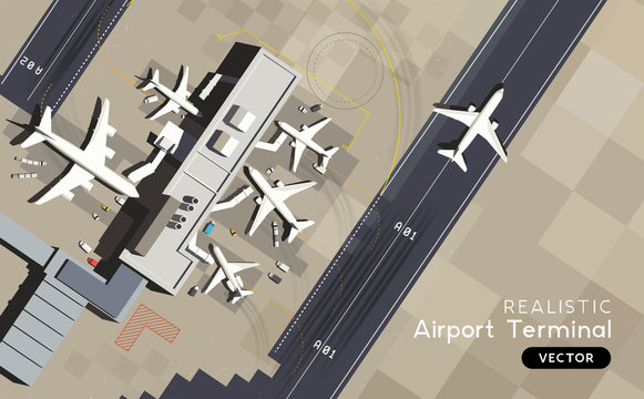 A top aerial view of an airport terminal and runway with parked commercial airplanes being loaded with supplies and passengers. Business and travel Vector illustration.
