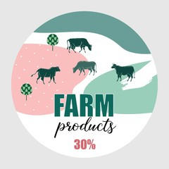 Cows graze in the meadow. Round background for design of agricultural products. Geometrical composition.