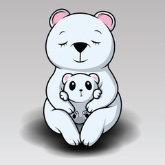 cute polar bear is laughing