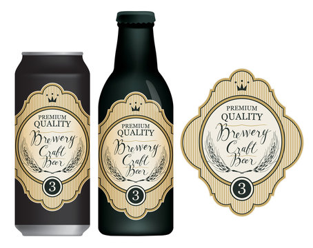 Vector label for craft beer in retro style, decorated by wheat or barley ears, crown and handwritten inscriptions on a light background in figured frame. Sample beer label on beer can and beer bottle