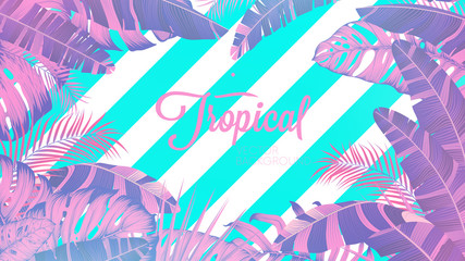 Wall Mural - Tropical and palm leaves in bright pink shades on striped background, Concept pop art