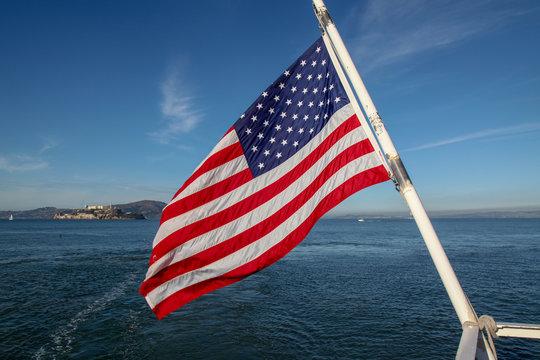 Usa flag on sea at San francisco,USA