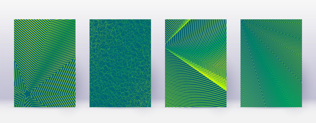 Art business card. Abstract lines modern brochure template. Green vibrant gradients geometry on dark background. Immaculate cover, brochure, poster, book etc.