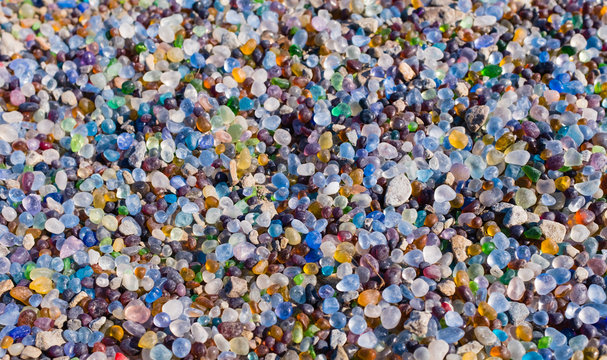 colorful glass stone beach background top view