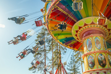 Fotobehang Amusementspark Kouvola, Finland - 18 May 2019: Ride Swing Carousel in motion in amusement park Tykkimaki
