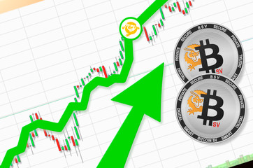 Bitcoin SV (BSV) cryptocurrency price up; bitcoin sv going up; place for text (price)