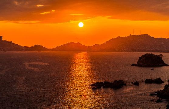 Acapulco bay sunset , Mexico