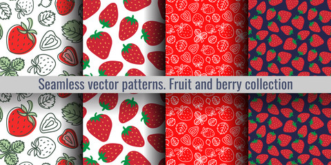 Strawberry seamless pattern. Red berry. Fashion design. Food print for kitchen tablecloth, curtain or dishcloth. Hand drawn doodle wallpaper. Vector sketch background