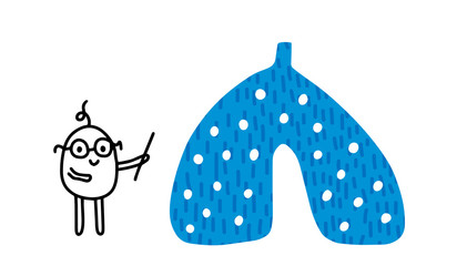 Scientist lection hand drawn illustration with lungs. Human organ. Cartoon minimalism style. Men